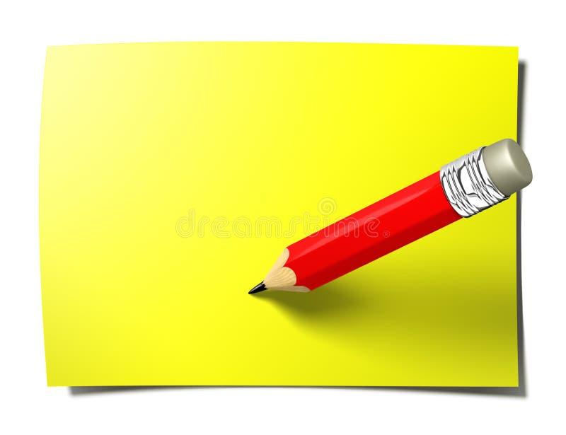 Nota gialla del bastone con la matita illustrazione di stock