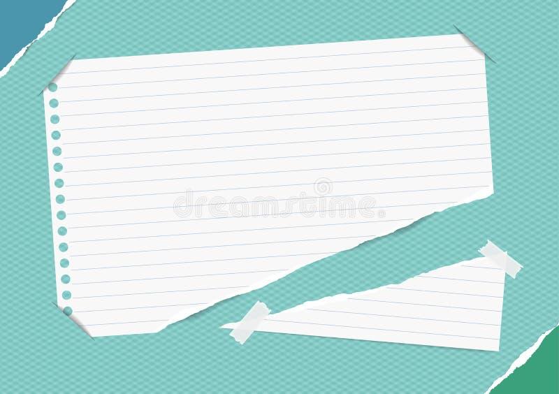 Nota gobernada rasgada, cuaderno, hoja del cuaderno insertada en fondo ajustado azul con el papel rasgado en esquinas ilustración del vector