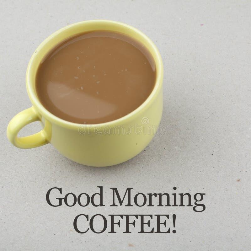 Nota inspirada da frase do café do bom dia fotografia de stock