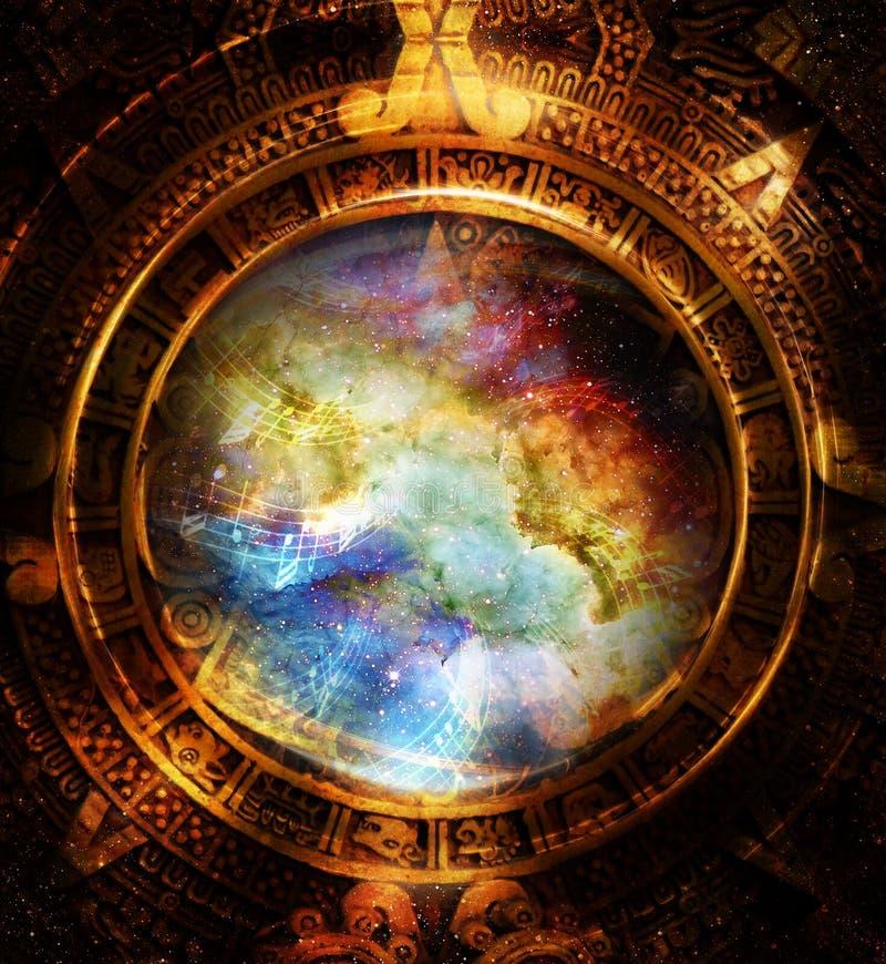 Nota maya antigua del calendario y de la música, espacio cósmico con las estrellas, fondo abstracto del color, collage del ordena stock de ilustración