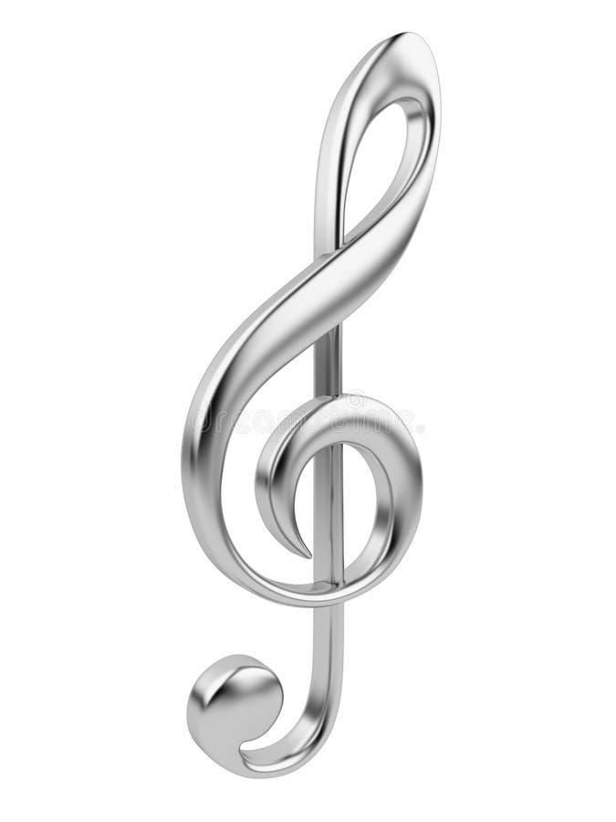 Nota metálica 3D de la música. Icono aislado en blanco stock de ilustración