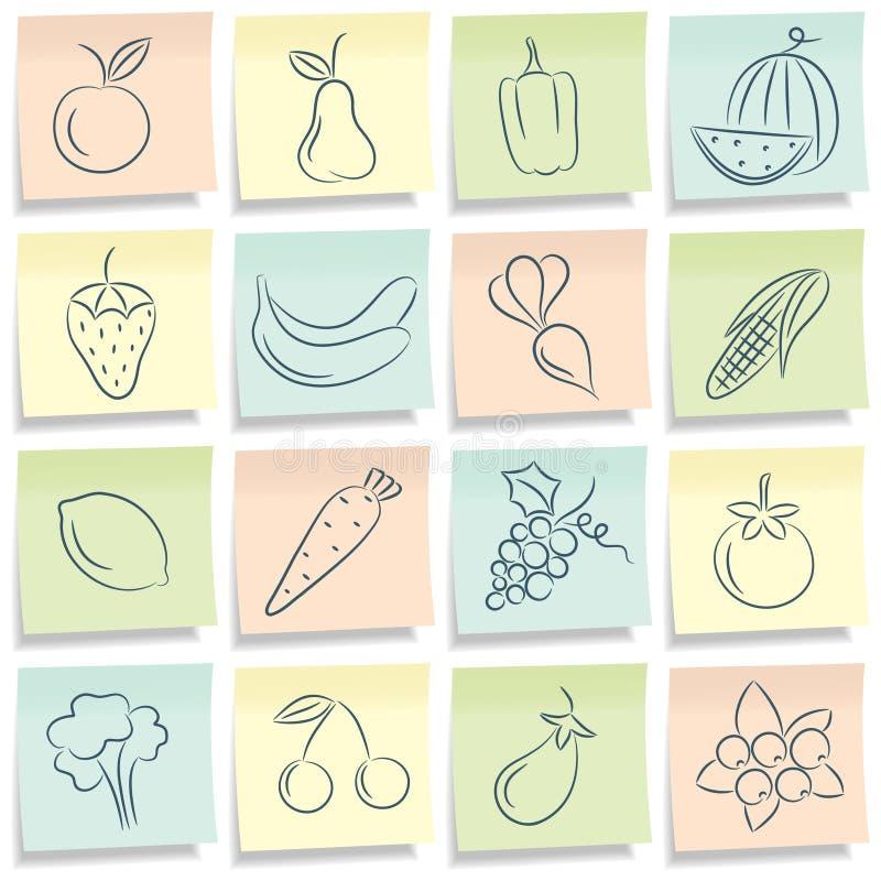 Nota met voedselbeelden. royalty-vrije illustratie