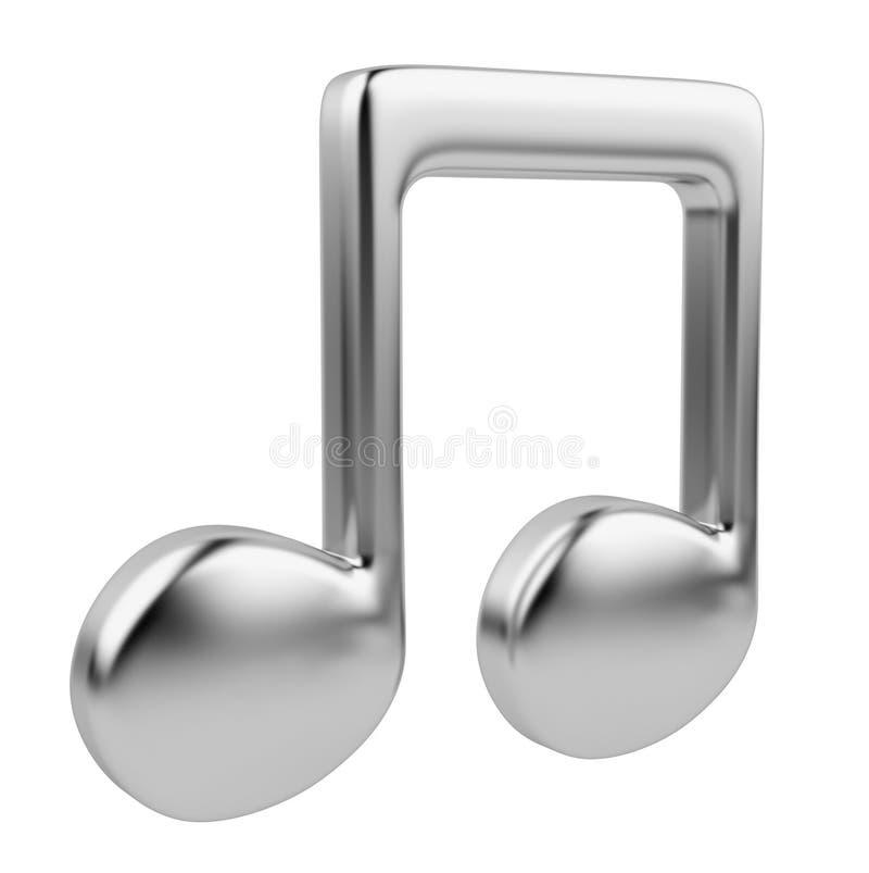 Nota musical 3D. Icono aislado stock de ilustración