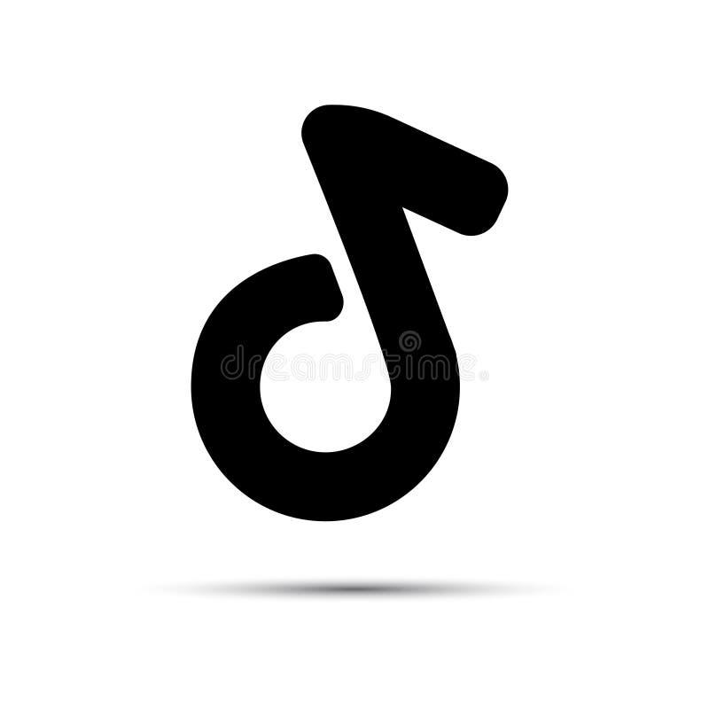 Nota musical Icono plano Logo o emblema para la aplicación de los medios sociales de danza musical Ilustración del vector ilustración del vector