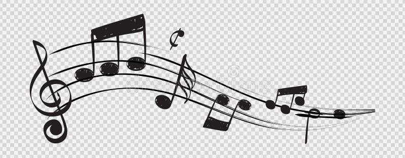 Nota musical La clave de sol del personal observa vector del concepto del músico aislada en fondo transparente stock de ilustración