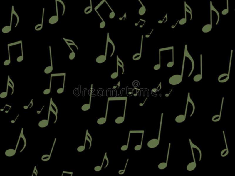 Nota Musical Verde No Papel De Parede Preto Da Tela