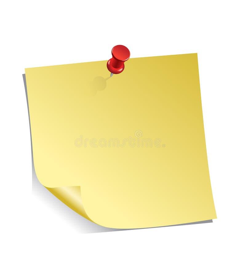 Nota pegajosa amarilla stock de ilustración