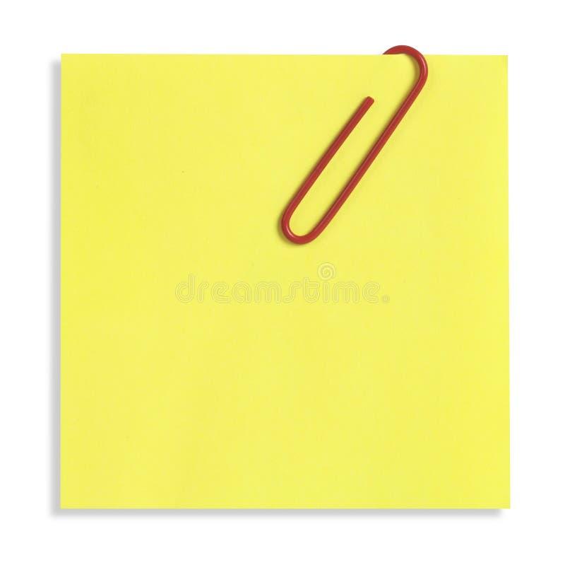 Nota pegajosa amarilla aislada imágenes de archivo libres de regalías
