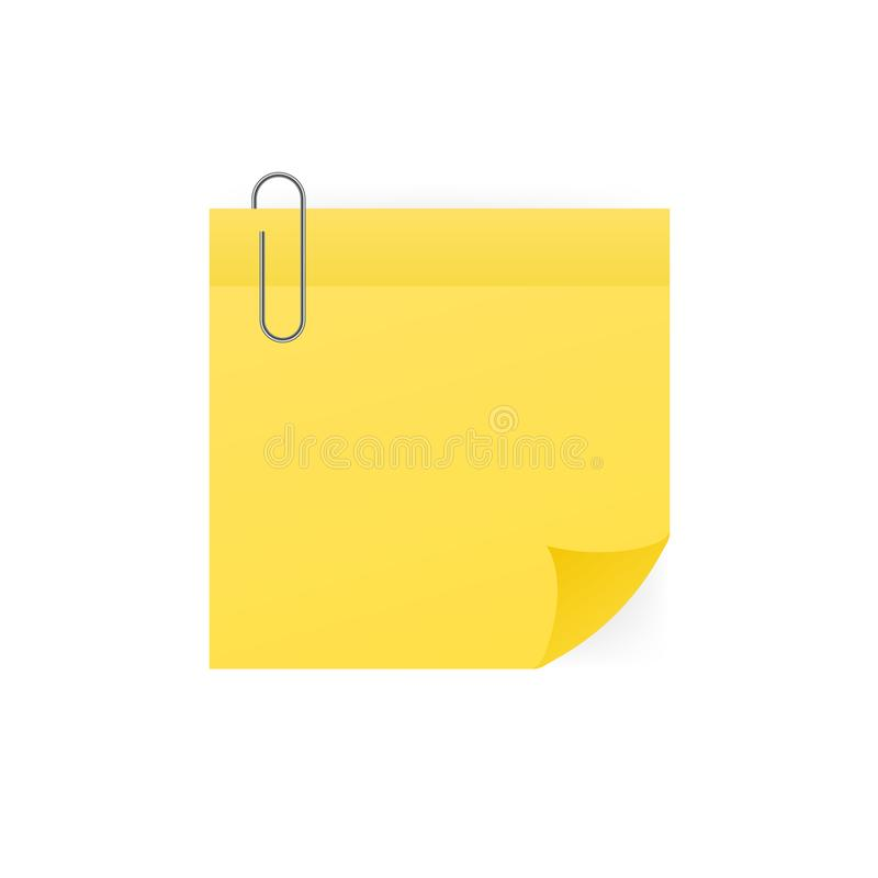 Nota pegajosa amarilla con el clip de papel aislado en el fondo blanco Ilustraci?n del vector ilustración del vector