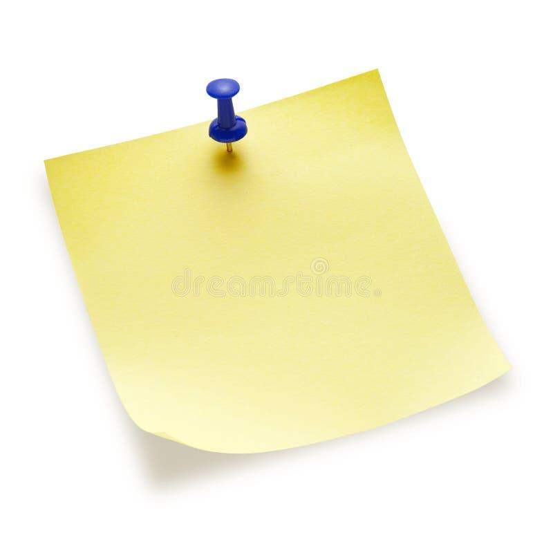 Nota pegajosa amarilla en blanco fotos de archivo libres de regalías