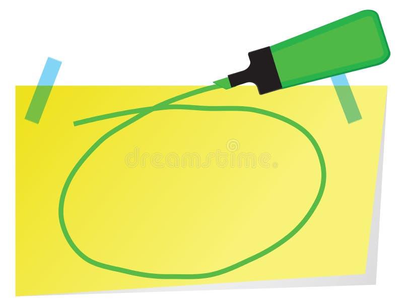 A nota pegajosa com a pena verde do highlighter e a mão tirada circundam a ilustração royalty free