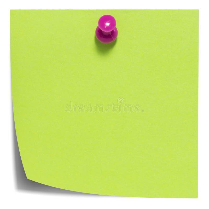 Nota pegajosa cuadrada verde, con el perno rosado, aislado fotografía de archivo libre de regalías