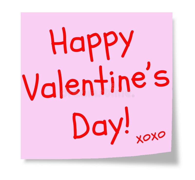 Nota pegajosa de tarjeta del día de San Valentín del color de rosa feliz del día libre illustration