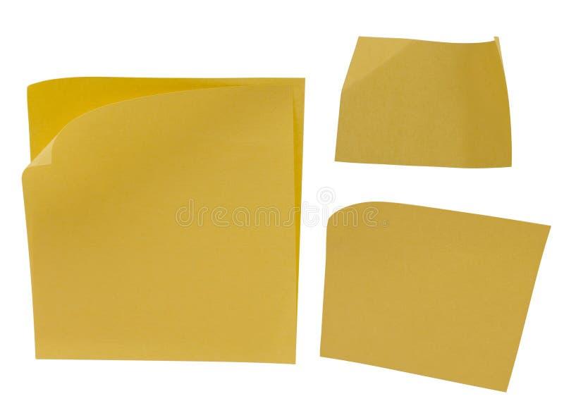Nota pegajosa en blanco amarilla imagen de archivo libre de regalías