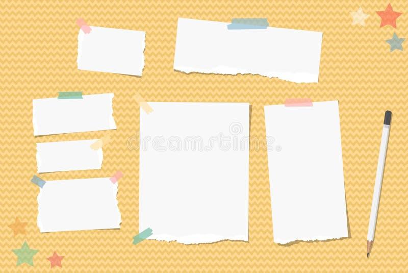 A nota rasgada, caderno, papel do caderno colou com fita pegajosa, lápis branco, estrelas no fundo ondulado alaranjado ilustração stock