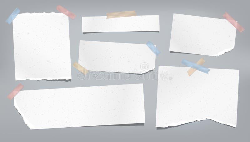 Nota rasgada, rasgada granosa blanca, tiras de papel del cuaderno, pegadas con la cinta pegajosa colorida en fondo gris Vector stock de ilustración