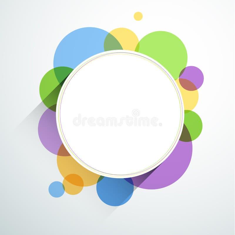 Nota redonda blanca sobre burbujas del color stock de ilustración