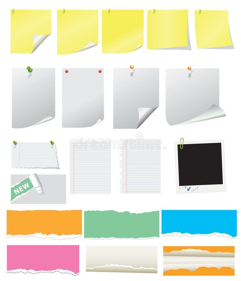 Nota's en gescheurde documenten vector illustratie