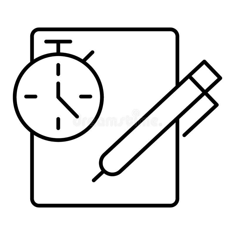 Nota's met chronometer Klembord met controlelijst, om lijst, volledige taken, onderzoek, het beheersconcept van de controlelijstt vector illustratie