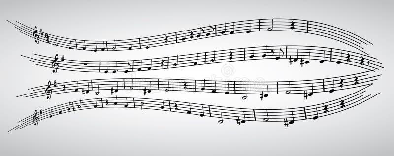 Nota's, staaf, g-sleutel, samenstelling, musical, patroon royalty-vrije illustratie
