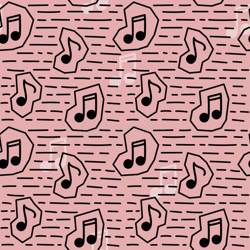 Nota senza cuciture di musica del modello nello stile di scarabocchio illustrazione di stock
