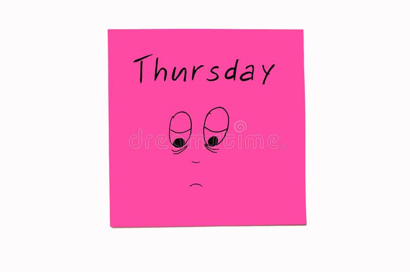 Nota'sstickers om de dagen aan de week te herinneren Grappige nota's met geschilderde emoties, die op de dagen van de week wijzen royalty-vrije stock foto
