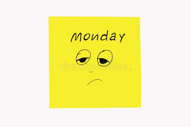 Nota'sstickers om de dagen aan de week te herinneren Grappige nota's met geschilderde emoties, die op de dagen van de week wijzen stock fotografie