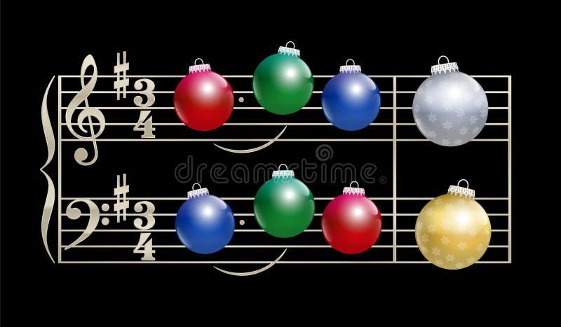 Notación musical de la canción de la Navidad de las chucherías stock de ilustración
