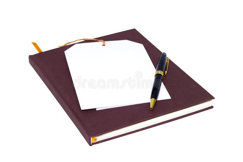 Notadocument en zwarte pen op witte achtergrond royalty-vrije stock afbeeldingen