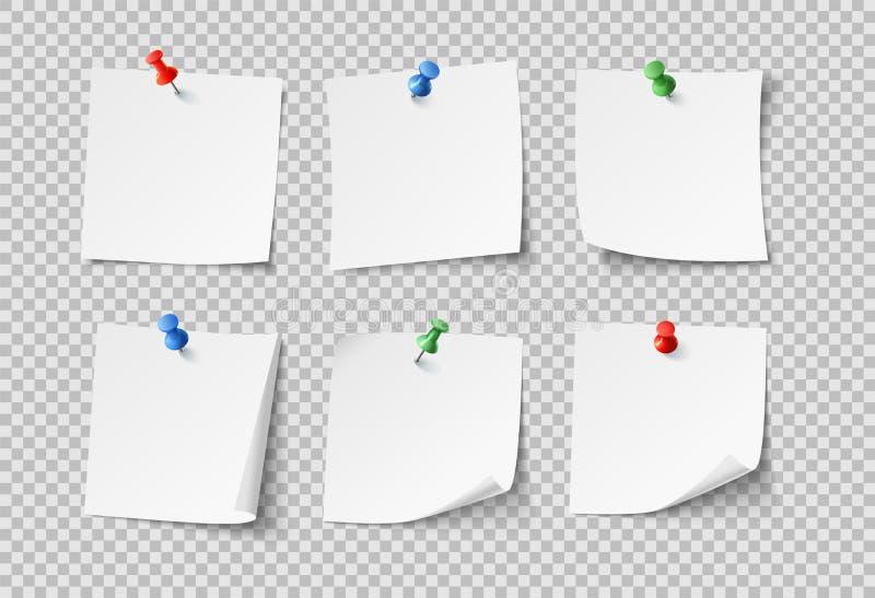 Notadocumenten Witte lege kleverige nota's met kleurenspelden Niemand behangt vector geïsoleerde reeks royalty-vrije illustratie