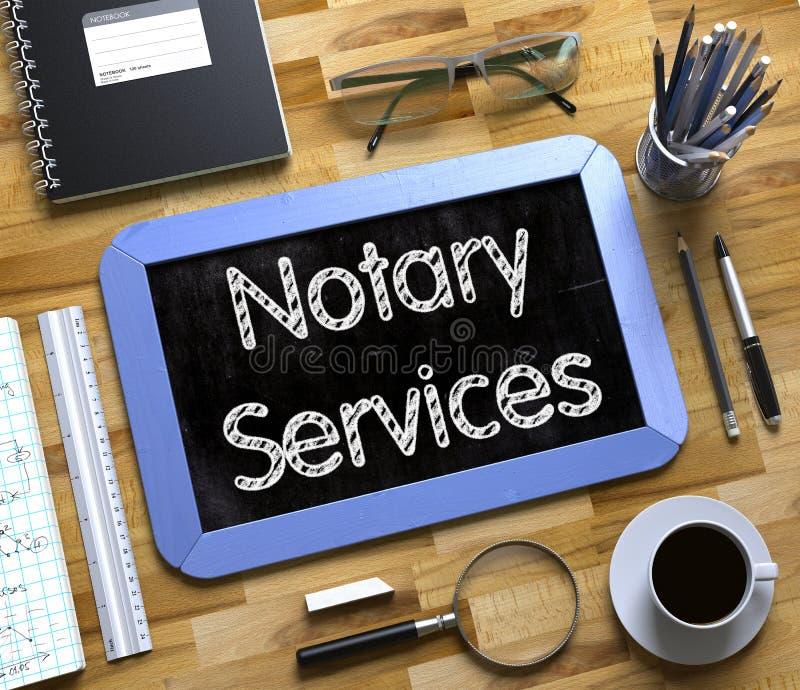 Notario Services - texto en la pequeña pizarra 3d stock de ilustración