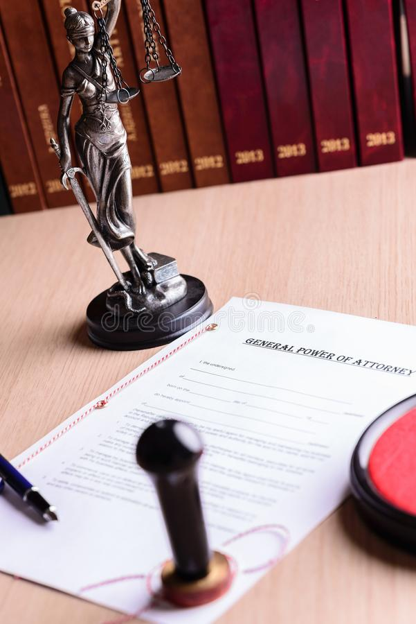 Notary public stamp on signed power of attorney royalty free stock image