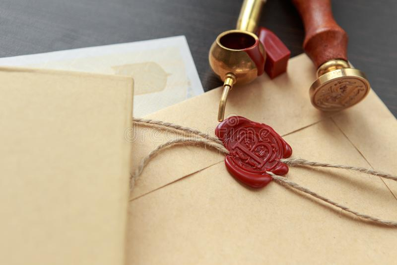 Notary public wax stamp - seal on notarized document royalty free stock image