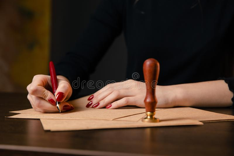 Notary`s public pen and stamp on testament and last will. Notary public royalty free stock photo