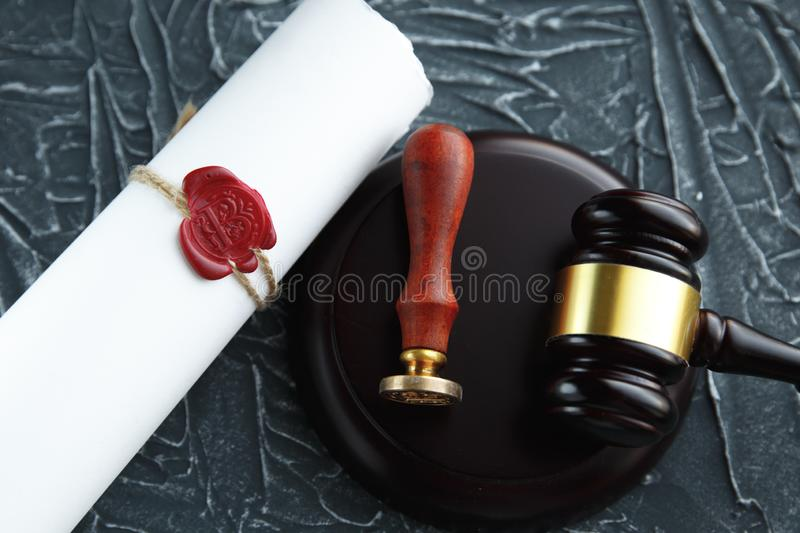 Notary`s public pen and stamp on testament and last will. Notary public. Tools stock photos