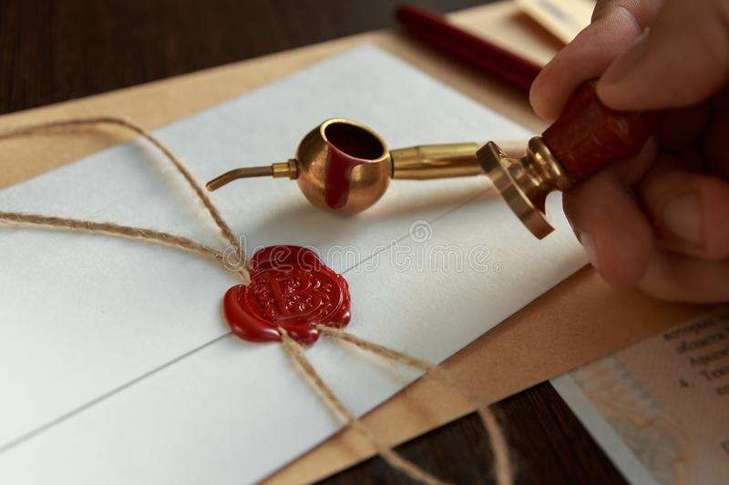 Notary`s public pen and stamp on testament and last will. royalty free stock images