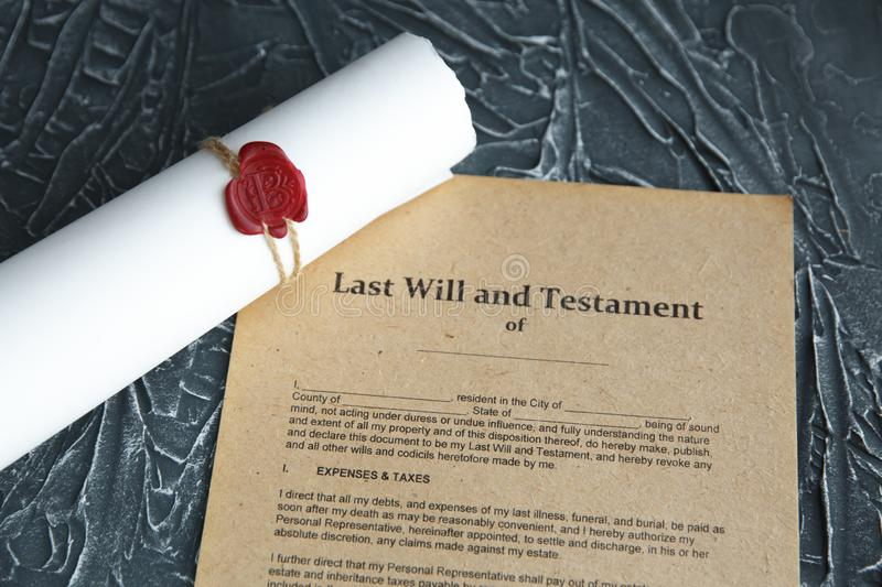 Notary`s public pen and stamp on testament and last will. Notary public. Tools stock image