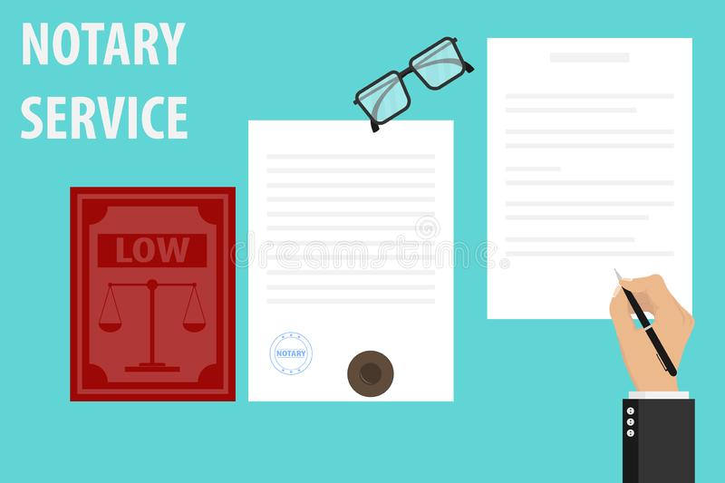 Notary service execution of documents seal and signature on papers. The notary signs the document and stamps. Vector illustration of notary services royalty free illustration
