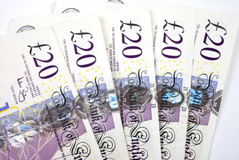 Notas £20 imagem de stock royalty free