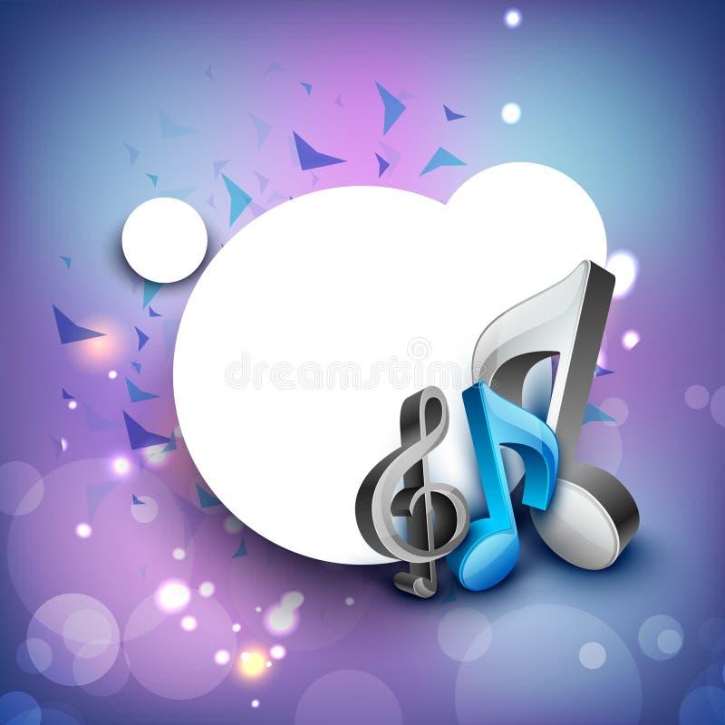 notas 3D musicais no fundo brilhante. ilustração do vetor