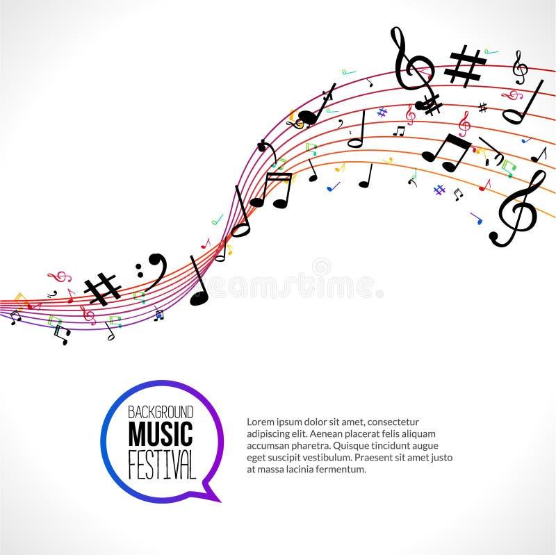 Notas abstractas de la música del vector sobre líneas coloridas en blanco fondo aislado Concepto musical libre illustration