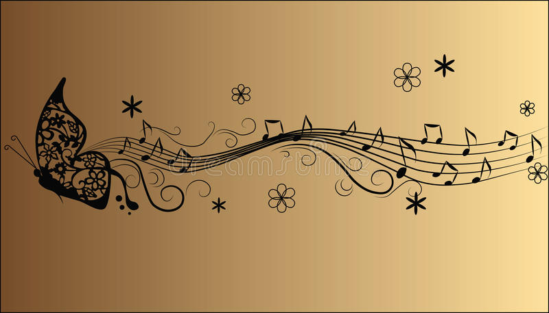 Notas abstratas da música da melodia ilustração royalty free