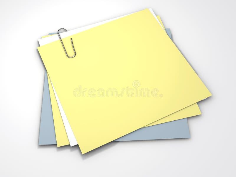 Notas amarelas ilustração stock