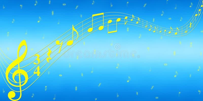 Notas amarillas de la música en fondo azul de la bandera stock de ilustración