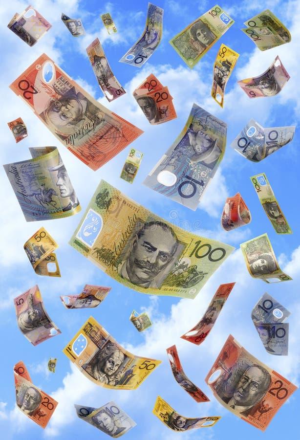 Notas australianas de queda imagens de stock
