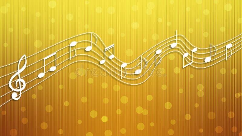 Notas blancas de la música en fondo de oro ilustración del vector