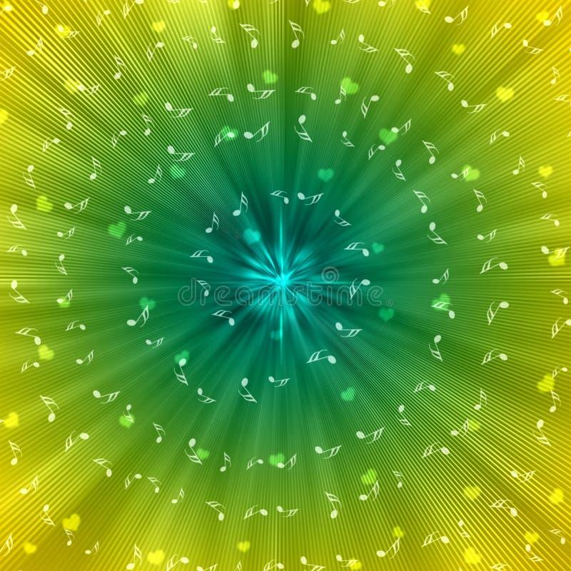 Notas blancas espirales de la música y corazones borrosos en fondo amarillo y verde ilustración del vector