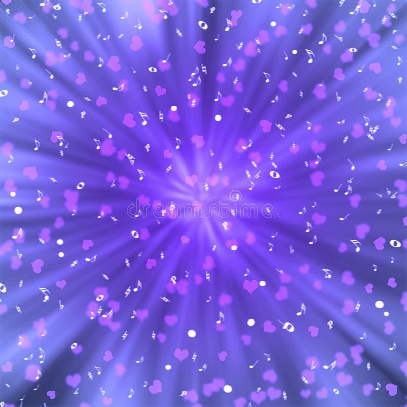 Notas blancas radiales de la música y corazones rosados en fondo púrpura ilustración del vector