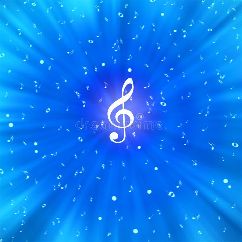 Notas brancas radiais da música no fundo azul ilustração do vetor
