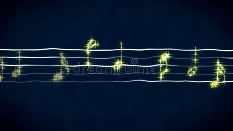 Notas brilhantes da música na folha ondulada, fundo instrumental, ilustração abstrata foto de stock royalty free